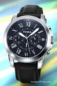 フォッシル FOSSIL 腕時計 メンズ グラント ブラック/ブラックレザーストラップ FS4812