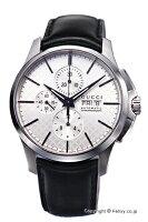 【GUCCI】グッチ腕時計G-TimelessNewAutomaticChronograph(G-タイムレスニューオートマティッククロノグラフ)シルバー/ブラックレザーストラップYA126265