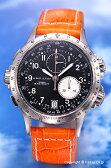 ハミルトン 腕時計 HAMILTON Khaki E.T.O(カーキ イーティーオー) ブラック/オレンジレザーストラップ H77612933 【あす楽】 P20Aug16