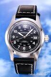 HAMILTON / ハミルトン 腕時計 Khaki Field Auto (カーキ フィールドオート) ブラック/ブラックレザーストラップ メンズ H70455733 【ハミルト