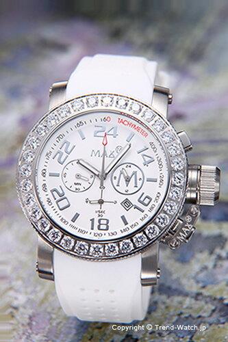 マックス 腕時計 MAX XL WATCHES クロノグラフ 42mm SS(クリスタルベゼル) ホワイト 5-MAX486【MAX XL WATCH】【マックス 時計】