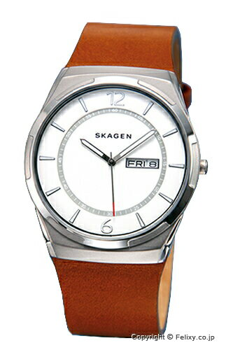 スカーゲン 腕時計 SKAGEN メルビ ホワイトシルバー/ライトブラウンレザーストラップ SKW6304 【】 【スカーゲン 腕時計】【SKAGEN SKW6304】【送料無料】