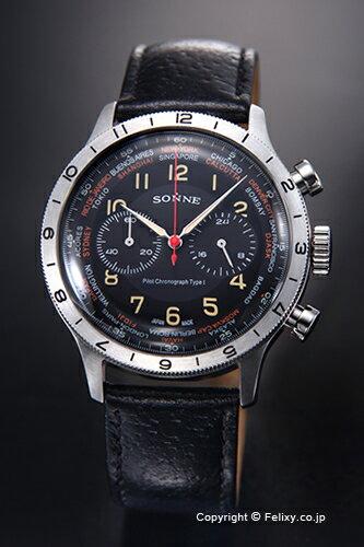 SONNE ゾンネ メンズ腕時計 ヒストリカル コレクション ブラック/ブラックレザーストラップ HI003BK-BK ゾンネ 時計 HI003BK-BK【送料無料】