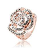 ブランドIUHA 18Kゴールドメッキ Piaget Roseピアジェ ローズ風バラデザイン リング 指輪 金属アレルギーと変色防止 アクセサリー ギフト ,48iuhav