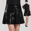 ショッピングリンツ プリンツスカート レザー スカート スカート Aライン フレアスカート レディース スカート ギラギラ ピッグ 切りっぱなし デザイン ミニスカート ショートスカート ブラック