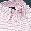 長袖ボタンダウン 赤/ピンクストライプ ワイシャツ ボタンダウン 長袖ワイシャツ メンズ 長袖 Yシャツ 豊富なサイズ ビジネス 形態安定 スリム 白 ワイド 黒 シャツ 半袖 など多数通販[ドレスシャツ][カラーシャツ][白シャツ][形状記憶]など取扱【10P02Mar14】