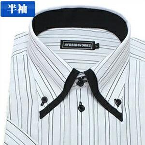 【当店人気商品】襟高デザイン 半袖 ドレスシャツ 半