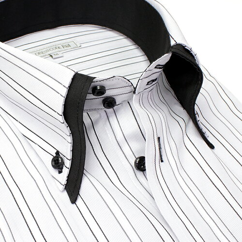 当店人気商品 襟高デザイン 半袖 ドレスシャツ 半袖ワイシャツ Yシャツ 形態安定(トップ芯加工) メンズ ワイシャツ 結婚式 ビジネス[黒 グレー 黒 2枚衿 ドゥエボットーニ ボタンダウン ストライプ スリム 大きいサイズ LL 3L 春 夏 クールビズ] あす楽