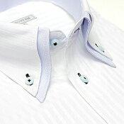 [10倍] 【当店人気商品】襟高デザイン ドレスシャツ 長袖 ワイシャツ Yシャツ 形態安定(トップ芯加工) メンズ 長袖ワイシャツ ビジネス 結婚式[白 ブルー 2枚衿 ストライプ その他織柄 ボタンダウン スリム 大きいサイズ LL 3L 春 夏 クールビズ カッターシャツ]【あす楽】