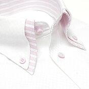 【人気商品】襟高デザイン ドレスシャツ 長袖 ワイシャツ Yシャツ 形態安定(トップ芯加工) メンズ ビジネス 結婚式[白 ホワイト ピンク ストライプ 2枚衿 ボタンダウン スリム 大きいサイズ LL 3L 春 夏 クールビズ カッターシャツ]