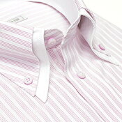 [当店人気商品]襟高デザイン ドレスシャツ 長袖 ワイシャツ Yシャツ 形態安定(トップ芯加工) メンズ ビジネス 結婚式[白 ホワイト ピンク ストライプ 2枚衿 織柄 ボタンダウン スリム 大きいサイズ 春 夏 クールビズ カッターシャツ]