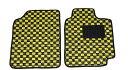 ■納期:約1〜3営業日後■ 送料無料 新品 汎用フロアマット カーマット 軽自動車/普通自動車 フロント2枚 黒×黄色(チェック柄)国内産
