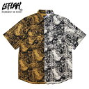 LEFLAH(レフラー) 総柄切り替え半袖シャツ (BROWN)