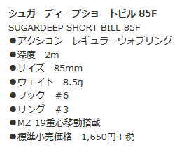 バスデイシュガーディープショートビル85【85mm/8.5g】【2016年新色】