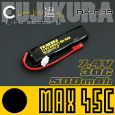 FUJIKURA lipo MAX45C 500mAh 7.4V リポバッテリー 電動ガン 電動ハンドガン用 リチウムポリマーバッテリーBA-039 富士倉 【RCP】 532P17Sep16