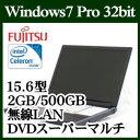 富士通 LIFEBOOK A574/MX FMVA10033P ノートパソコン  Windows7 PRO Celeron 500GB HDD DVDスーパーマ...