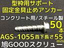 仮留めアンカー 旭GOODスクリュー AGS-1055TYPE 首下長さ55mm 50本入 スチール製 コンクリート用【取寄せ品】