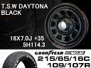 T.S.W DAYTONA [BLACK] 16X7.0J +35 5H114.3 + GOODYEAR NASCAR ホワイトレター 215/65/16C 109/107R