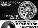 T.S.W DAYTONA [CHROME] 16X7.0J +35 5H114.3 + GOODYEAR NASCAR ホワイトレター 215/65/16C 109/107R