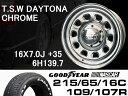 T.S.W DAYTONA [CHROME] 16X7.0J +35 6H139.7 + GOODYEAR NASCAR ホワイトレター 215/65/16C 109/107R