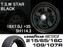 T.S.W STAR [BLACK] 16X7.0J +35 5H114.3 + GOODYEAR NASCAR ホワイトレター 215/65/16C 109/107R