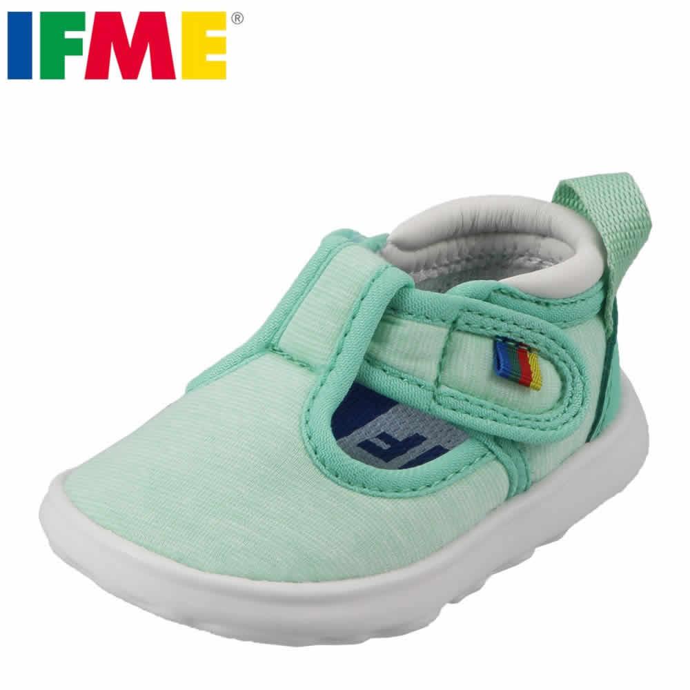 [イフミー] IFME 22-7002 ベビー キッズ | ベビーシューズ | 子供靴 キッズスニーカー | 軽量 パステルカラー | 男の子 女の子 | グリーン SP