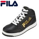 フィラ FILA スニーカー FC-6206 メンズ靴 靴 シューズ 3E相当 ミッドカットスニーカー ハイカットスニーカー 防水 MomentoHISW スポーティ カジュアル 人気 大きいサイズ対応 28.0cm ブラック×ゴールド TSRC