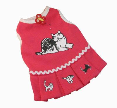 【猫のお洋服】マンハッタナーズ ペット用プリーツワンピース 赤