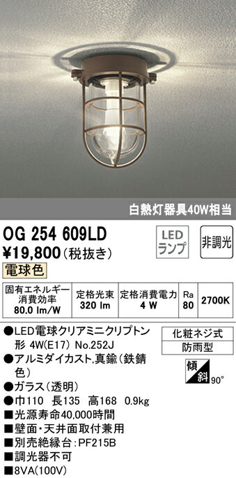 OG254609LD オーデリック 照明器具 エクステリア LEDポーチライト 電球色 非調光 白熱灯40W相当 OG254609LD