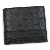 フェラガモ/Salvatore Ferragamo 二つ折り小銭入れ付メンズ財布・ブラック黒・66-8734