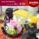 母の日 ギフト 花 プレゼント 迎福 招き猫 誕生日 送料無料【覗き込む猫背が可愛い♪プリザーブドフ
