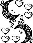 タトゥーシール_月【黒】【送料無料】【ゆうパケット発送】漆黒のうつし絵<TATTOO_ボディシール>はがれにくい_長持ち_ドレス_クラブ_結婚式_二次会_景品_iPhone【代引き不可】