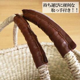 【かごバスケット】シーグラスラウンド収納バスケット深型取っ手付き30×29×h21.5