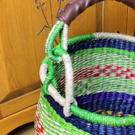 収納シーグラスアフリカンバスケット取っ手付き直径35×h30(47取っ手まで)