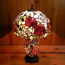 【送料無料】ステンドグラスランプ 薔薇の花(シャルロット) 大型 31.5×h50【smtb-KD】【照明・スタンド】