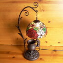ステンドグラスランプ吊り型1アーム薔薇の花 (ロココ) こねこ(=^・^=)オブジェ付き 大型 31