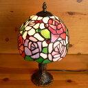 ステンドグラスランプ 淡い色の薔薇の花 (アルティシモ) 中型 21×h35.5 【照明・スタンド】