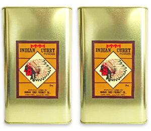 インデアン食品 純カレー粉 缶 2kg (2000g) お得な2