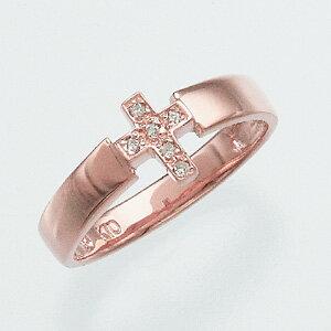 ピンクゴールドダイヤモンドリング ダイヤモンド リング【ピンキーリング】【クロスモチーフ】 ジュエリーツツミ【送料無料・き手数料無料】離島含む