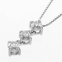 赤字覚悟の特別ご提供品!63%OFF!憧れのプラチナ3ストーンダイヤモンドプチネックレス
