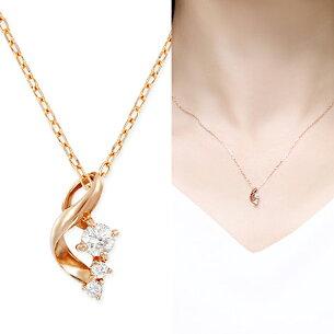 ポイント ピンクゴールドダイヤモンドネックレス ダイヤモンド ネックレス