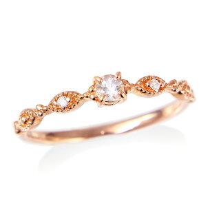ポイント ピンクゴールドモルガナイトダイヤモンドリング ダイヤモンド