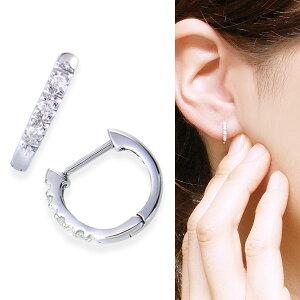 ポイント ホワイトゴールドダイヤモンドピアス ダイヤモンド