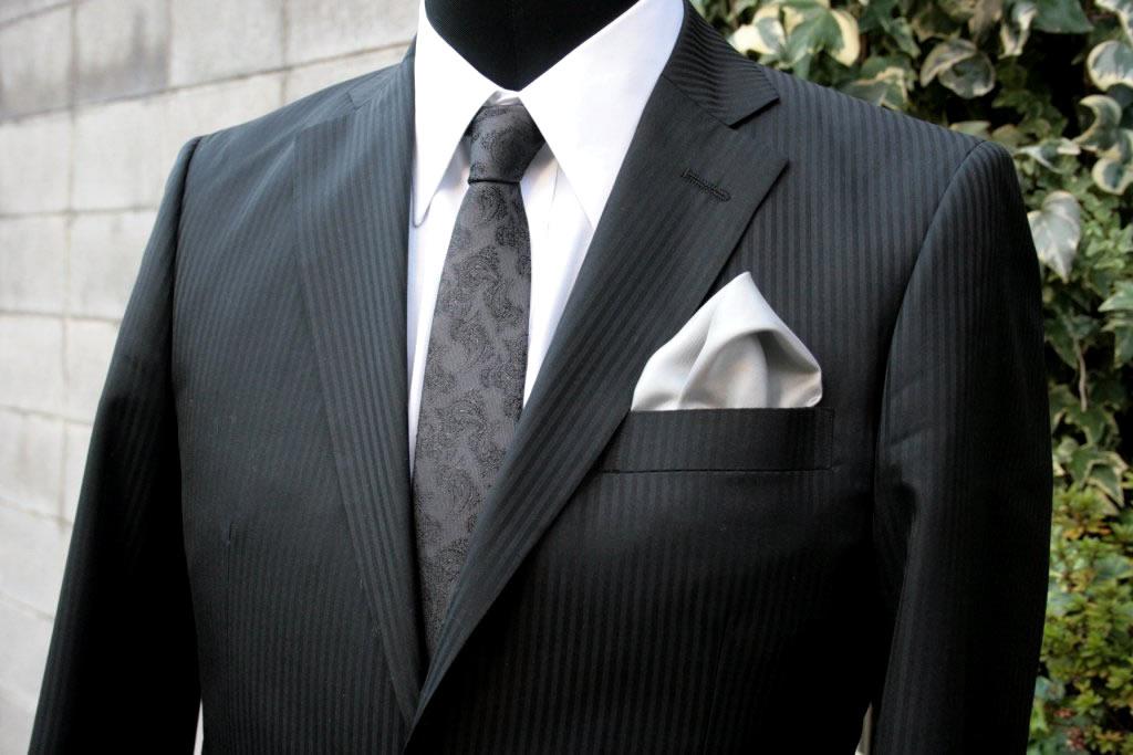 シルク100%ポケットチーフ[no.3グレー]シルクチーフ