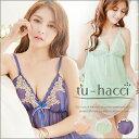 【tu-hacci】胸元刺繍ラインキャミ+ショーツSET3colorブルー/オレンジ/グリーン