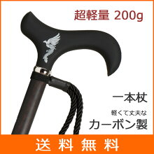 杖 ステッキ 一本杖 カーボン製 黒檀ホスピア カーボンシリーズ【送料無料】