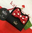 ショッピングマウス ケイトスペード レディース財布 kate spadex ミニーマウス コラボ リボンが可愛い レザー 黒 ブラック 限定品【あす楽対応】