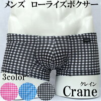 ギンガムチェック ローライズ ボクサー パンツ メンズ もっこり ボクサーパンツ ローライズボクサー 日本製 メール便 セクシー クール 可愛い さわやか チェック ローライズ 男性 Crane クレイン