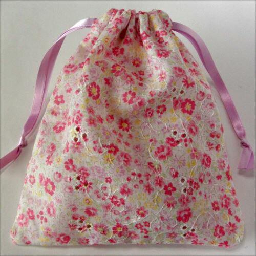 めざましテレビで紹介された 抗菌巾着袋新カワイイマスク用綿レース花柄ピンク・2枚入り