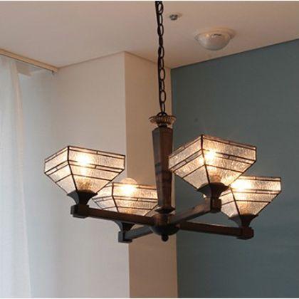 メルクロス モザイク・ガラスシャンデリア 4灯 ペンダントランプ 電球なし ホワイト/イエロー W55H31D55cm 001885